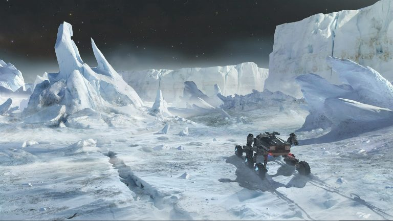 Elite Dangerous land vehicle on frozen planet