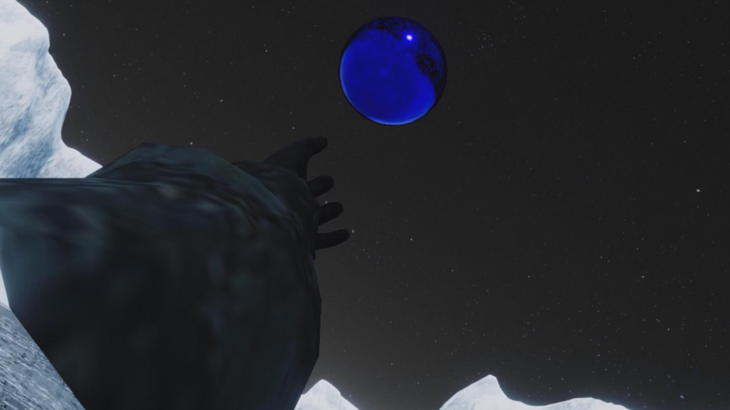 Hand grabbing blue orb